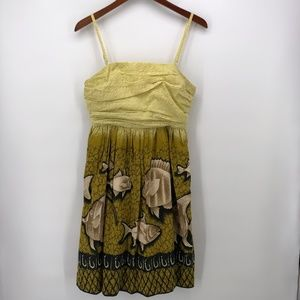 Anthropologie Vanessa Virginia Yellow Fish Dress 6